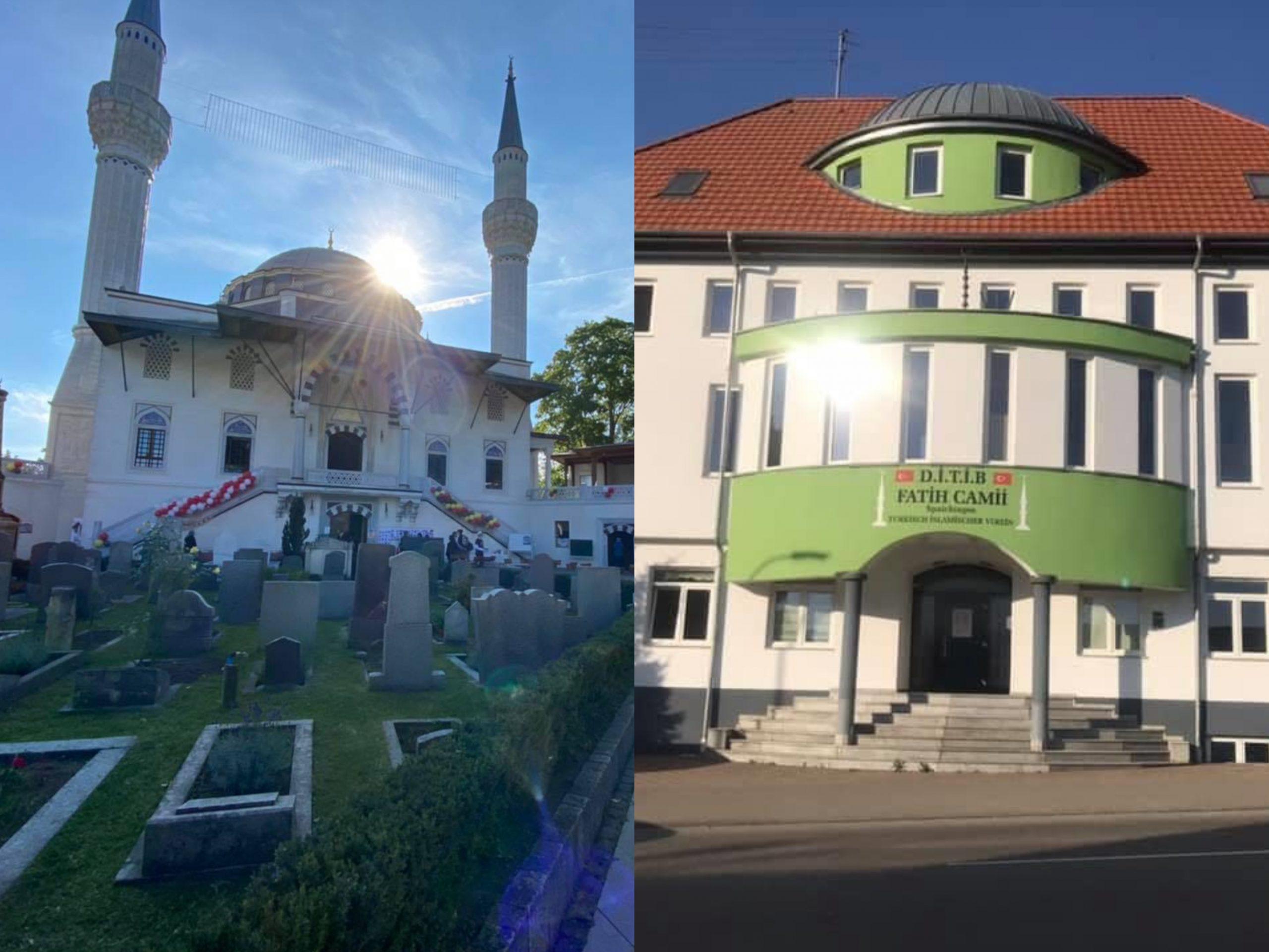 Berlin Şehitlik Camii (solda); Spaichingen Fatih Camii (sağda)
